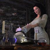 Halloween čarodějnice v pozadí konceptu laboratorní