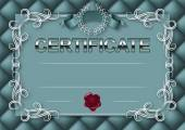 Elegant template of certificate diploma with decoration of lace pattern ribbon wax seal laurel wreath button-tufted texture place for text Certificate of achievement education awards winner Vector illustration EPS 10
