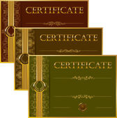 Set of elegant templates of diploma with decoration of lace pattern ribbon wax seal laurel wreath place for text Certificate of achievement education awards winner Vector illustration EPS 10