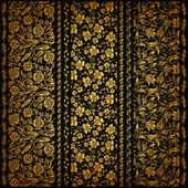 Set of vertical golden lace pattern decorative elements borders for design Seamless floral ornament Page decoration Vector illustration EPS 10