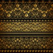 Set of horizontal golden lace pattern decorative elements borders for design Seamless floral ornament Page decoration Vector illustration EPS 10