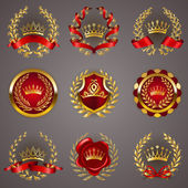 Set of luxury gold labels medals stickers icons logo with laurel wreath filigree crowns bow wax seal ribbons for page web design Royal heraldic elements in vintage style Illustration EPS 10