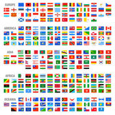 All Vector World Country Flags at High Detail Divided by Continents