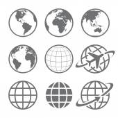 Set of nine simple Earth globe icons Vector file is layered