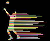 Volleyball player vector silhouette background concept made of stripes