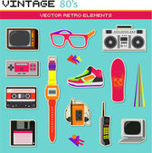 Vintage retro 80s vector elements collection