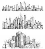 Hand drawn big cities cityscapes and buildings