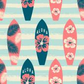Seamless repeat pattern with surf boards in red and blue on a striped light blue brush strokes background