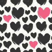 Hand drawn seamless repeat pattern with hearts in black and pink on cream background Modern and stylish romantic design poster wrapping paper Valentine card design