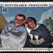 Постер, плакат: FRANCE CIRCA 1966: A stamp printed in France shows Crispin and Scapin by Honore Daumier circa 1966