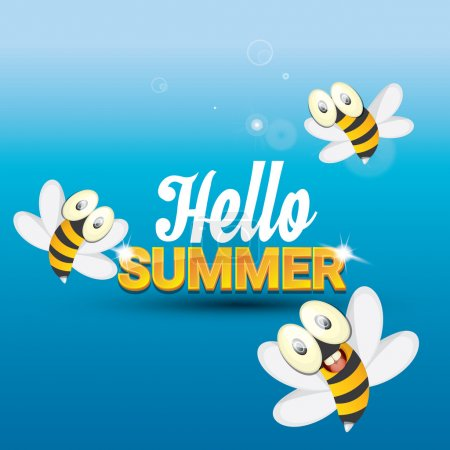 Постер, плакат: Hello summer vector background funny cartoons bee, холст на подрамнике