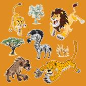 Collection Sets of African Animals and Tree including zebra lion leopard hyena cheetah zebra African trees
