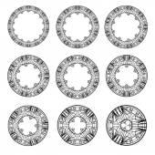 Collection round ornament for design vector illustration clip-art