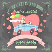 The groom and the bride in a cabriolet invitation or wedding card vector illustration