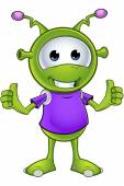 A cartoon illustration of a cute little green alien character