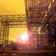 Постер, плакат: Metal structure of industry chemical tube in heavy industrial es