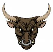 An illustration of a fierce bull animal character or sports mascot
