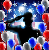 Patriotic soldier or veteran saluting in front of an American flag veterans day background with red white and blue balloons and streamers