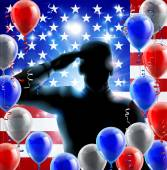 Patriotic soldier or veteran saluting in front of an American flag fourth July or independence day background with red white and blue balloons and ribbon
