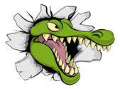 A cartoon crocodile or alligator mascot head smashing through a wall