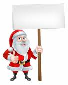 A Christmas cartoon Santa Claus holding a sign and giving a thumbs up