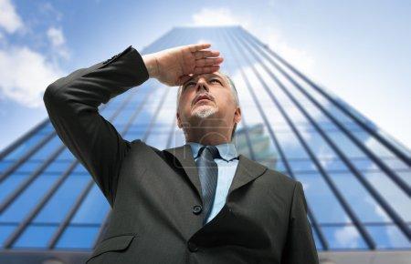 Businessman looking at future