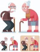 Flat design illustration of elderly couple in 3 color versions