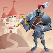 Cartoon knight in front of castle No transparency used Basic (linear) gradients