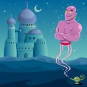 Genie coming out of lamp in Arabian desert