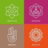Vector icons set Graphic design elements in outline style Logo templates for spa center or yoga studio