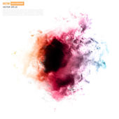 Vector color cloud Floral Background with Smoke Watercolor Texture
