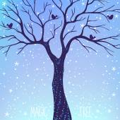 Beautiful card with silhouette magic tree at night Vector illustration