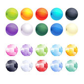 Set of different colorful faceted and round beads