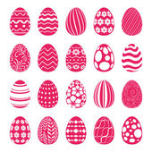 Set of Easter eggs decorated with geometric and floral ornaments Holiday symbols for design