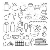 Set of different food icons outline style Sweets dairy pastry drinks fruits