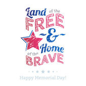 USA national celebrations badge with message Memorial Day patriotic text - Land of the free home of the brave