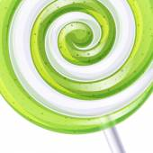 Green and white big lollipop spiral candy background Vector illustration