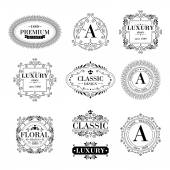 Luxury logo template glamour calligraphic monogram ornament labels set Good for restaurant royalty boutique hotel heraldic jewelry fashion Vector illustration