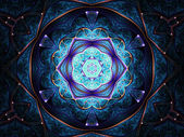 Mandala frattali blu scuro, opere darte digitale per la progettazione grafica creativa