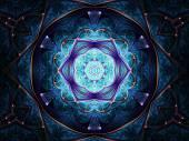 Dunkel blauer Fractal Mandala, digital Artwork für kreative Grafik-design