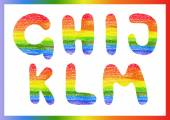 Modern rainbow crayon alphabet Crayon font or letters (lettering)