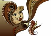 Vector illustration of a girl Young woman holding a cup of tea or coffee