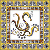 Abstract pattern from decorative ornament elements  Portuguese texture (background) with swan for packing textile interior web design