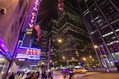 Постер, плакат: NEW YORK CITY JUNE 12 2015: Radio City Music Hall a popular landmark in Manhattan located in Rockefeller Center has hosted the most popular entertainers and artists of the last decades , холст на подрамнике