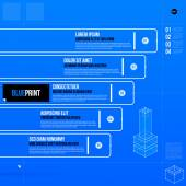 Vector chart template with five stages in blueprint style EPS10
