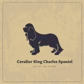 Cavalier King Charles Spaniel  silhouette vintage poster All objects are conveniently grouped and are easily editablePure stylized silhouette of a dog is easily accessible