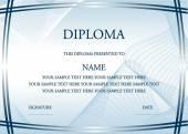 Illustrazione vettoriale del certificato diploma blu