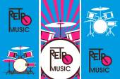 Vector illustration Three vertical flyer on a musical theme of retro music