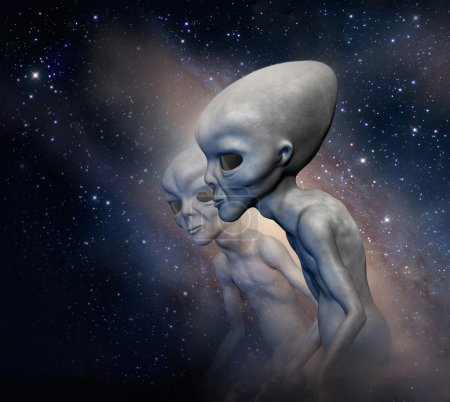 Two grey realistic aliens  in space. 3 D characters. Digital illustration.  3 d illustration.