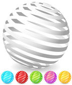 Striped spheres in 6 colors 3d geometric orbs balls Generic icons design elements
